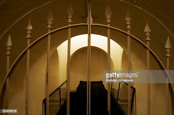 Lincoln's catafalque built in 1865 lays in Washington's Tomb beneath the crypt in the Capitol Building June 7 2004 in Washington DC The catafalque's...