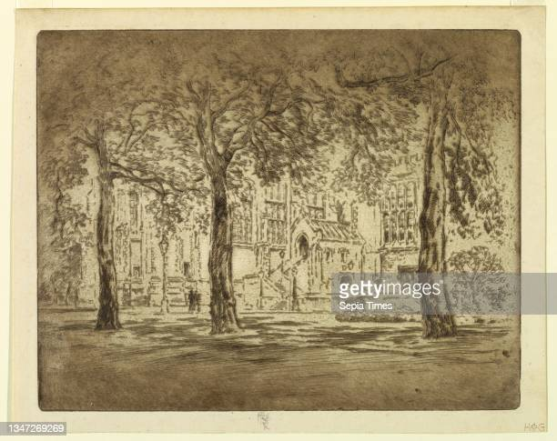 Lincoln's Inn Fields, Joseph Pennell, American, active England, 1857–1926, Etching in black ink on paper, Lawn with three trees in the foreground and...