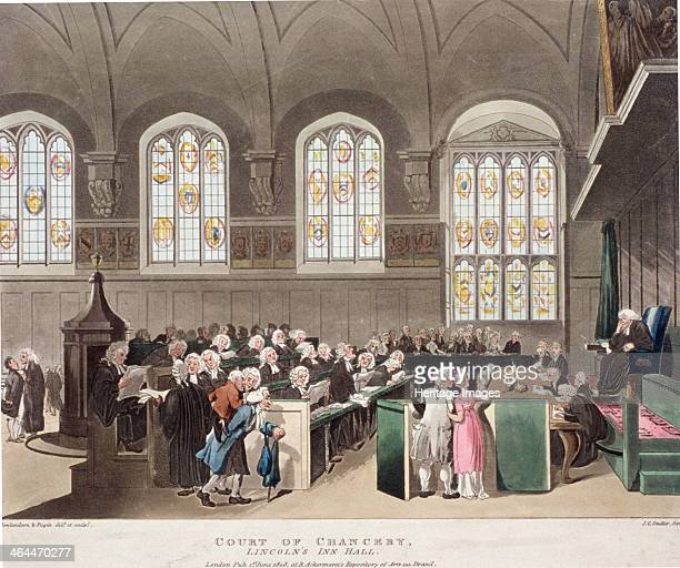 Lincoln's Inn Holborn London 1808 interior view of Lincoln's Inn old hall showing the Court of Chancery in session