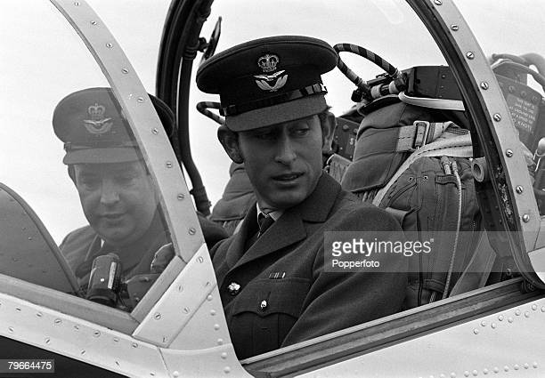 Lincolnshire England 8th March 1971 HRH Prince Charles about to have a flying lesson in a Jet Provost to gain his 'wings' at the RAF college in...