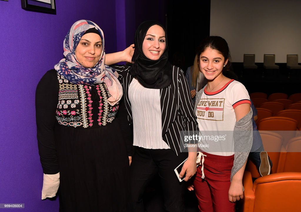 Linda Alhalabi, Yasmen Aboalshaer and Sedra Alhalabi attend 'This is Home: A Refugee Story' - New York Premier Screening at Crosby Street Hotel on May 16, 2018 in New York City.