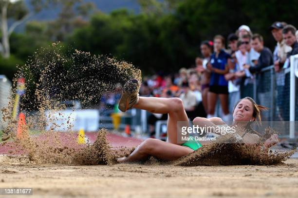 Linda Allen of VIC competes in the Womens Triple Jump Open during the Briggs Athletics Classic at the Domain Athletics Track on February 4 2012 in...