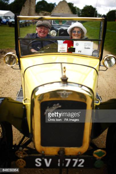 Linda and Mike Hutton from the Isle of Wight arrive in their 1928 'Chummy' at the 50th Austin Seven Rally at the National Motor Museum in Beaulieu...