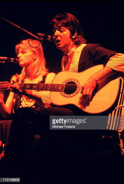 Linda and Paul McCartney of Wings on stage in Aberdeen Scotland on September 22 1975