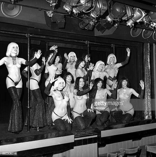 Linda at work with the girls of The Crazy Horse April 1975 752083001