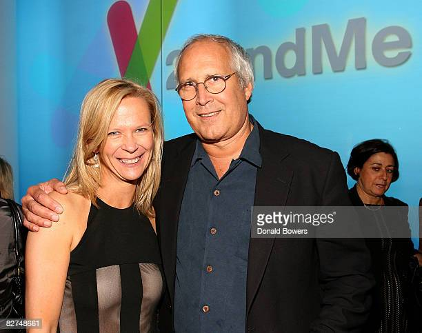 Linda Avey and Chevy Chase attend the 23 and Me Spit party at the IAC Building on September 9 2008 in New York City