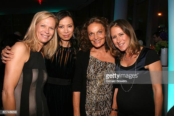 Linda Avey Wendi Deng Diane VonFurstenberg and Anne Wojcicki attend the 23 and Me Spit party at the IAC Building on September 9 2008 in New York City