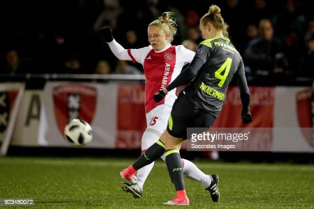 Linda Bakker of Ajax Women Lucie Akkerman of PSV Women during the Dutch Eredivisie Women match between Ajax v PSV at the De Toekomst on February 23...