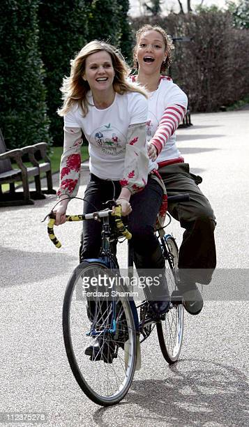 Linda Barker and Angela Griffin during 'Pedal with the Parcs' London Launch and Photocall at The Orangery in London Great Britain