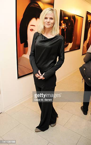 Linda Barker attends a private view of 'Kabuki One Year On' a photographic exhibition by Frederic Aranda to benefit the Japan Society Tohou...