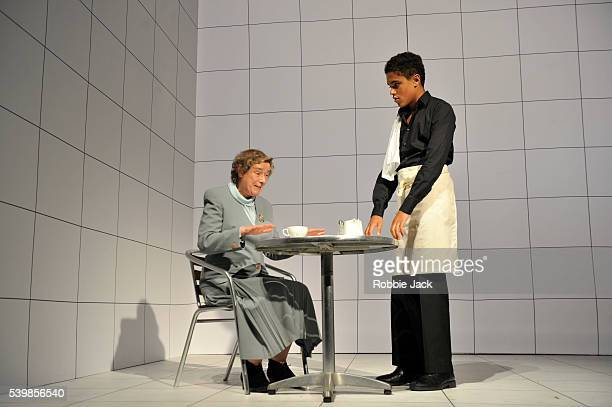 Linda Bassett and Josh Williams in Caryl Churchill's Love and Information directed by James Macdonald at the Royal Court in London