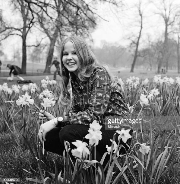 Linda Blair aged 15 who is the child star of the film 'The Exorcist' Pictured amongst the daffodils in Kensington Gardens London 24th March 1974