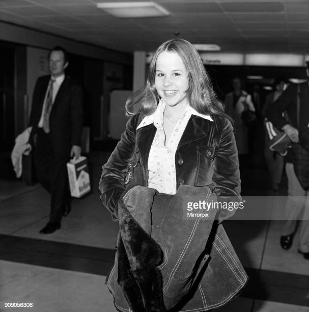 Linda Blair aged 15 who is the child star of the film 'The Exorcist' Pictured at Heathrow Airport Linda is in the UK for a week of press and TV...