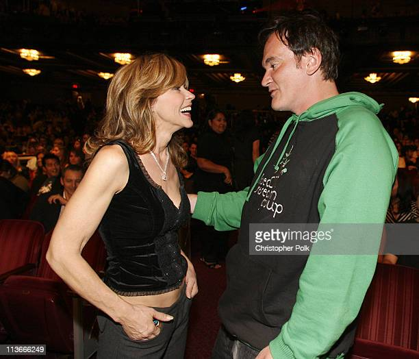 Linda Blair and QuentinTarantino during Spike TV's Scream Awards 2006 Backstage and Audience at Pantages Theater in Hollywood California United States