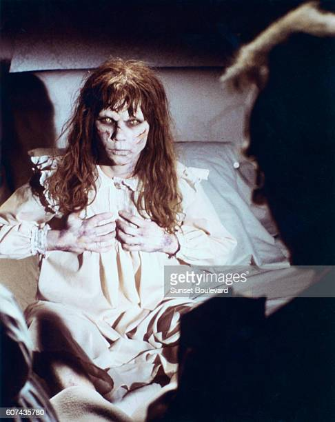 Linda Blair and Swedish actor Max von Sydow on the set of The Exorcist based on the novel by William Peter Blatty and directed by William Friedkin
