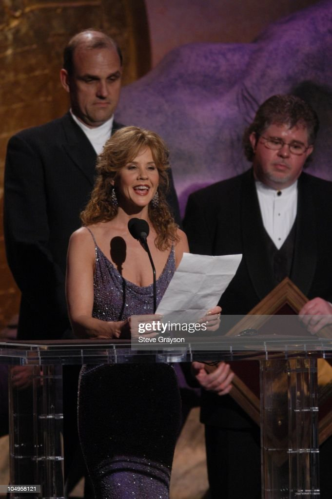 Linda Blair presents The Brigitte Bardot International Award to Klaus Schwagrzinna and Jerry Jones for 'Les Mustangs.'
