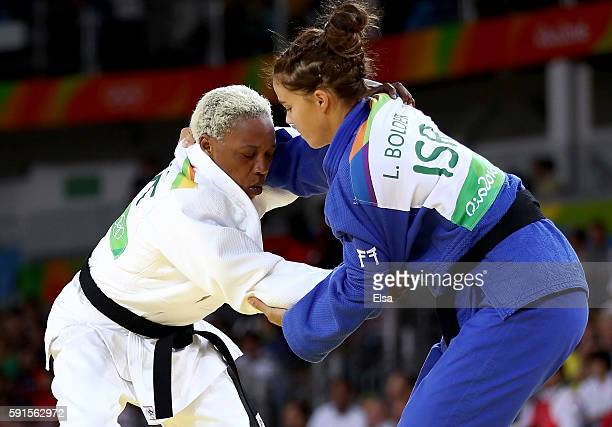 Linda Bolder of Israel competes against Yolande Bukasa of the Refugee Olympic Team during a Women's -70kg bout on Day 5 of the Rio 2016 Olympic Games...