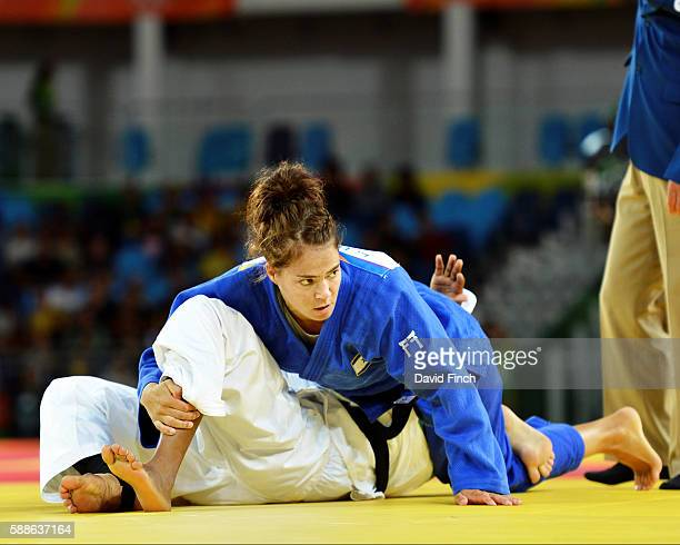 Linda Bolder of Israel holds Yolande Bukasa of the Refugee Olympic Team for ippon to win their u70kg contest during day 6 of the 2016 Rio Olympic...