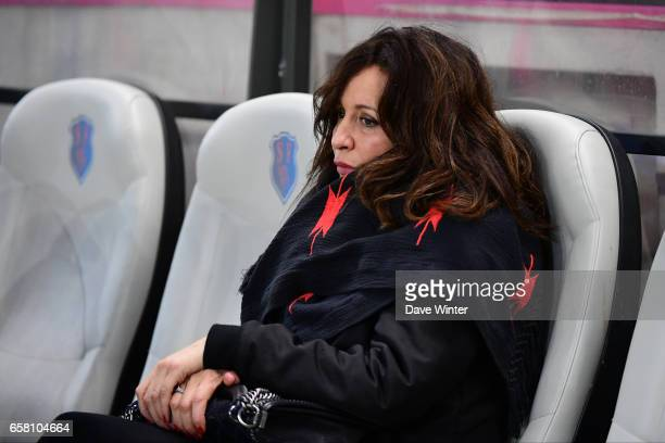 Linda Boudjellal wife of Toulon president Mourad Boudjellal during the Top 14 match between Stade Francais and RC Toulon at Stade Jean Bouin on March...