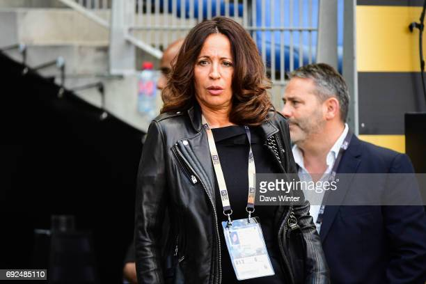 Linda Boudjellal wife of Toulon president Mourad Boudjellal during the Top 14 Final between RC Toulon and Clermont Auvergne at Stade de France on...