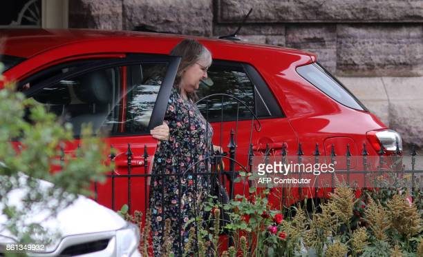 Linda Boyle mother of freed Canadian hostage Joshua Boyle arrives at the Boyle family home in Smiths Falls Ontario Canada on October 14 2017 Freed...