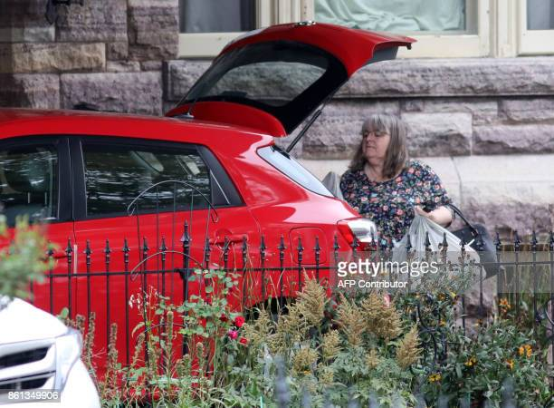 Linda Boyle mother of freed Canadian hostage Joshua Boyle arrives with grocery bags at the Boyle family home in Smiths Falls Ontario Canada on...