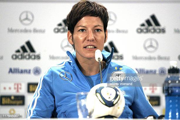 Linda Bresonik attends the Germany Women national team press conference at Hilton Hotel on Juli 02 2011 in Duesseldorf Germany