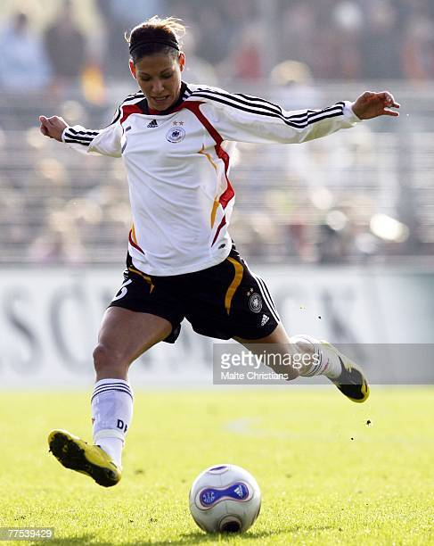 Linda Bresonik of Germany in action during UEFA Womens European Championship Qualifying match between Germany and Belgium on October 28 2007 in...