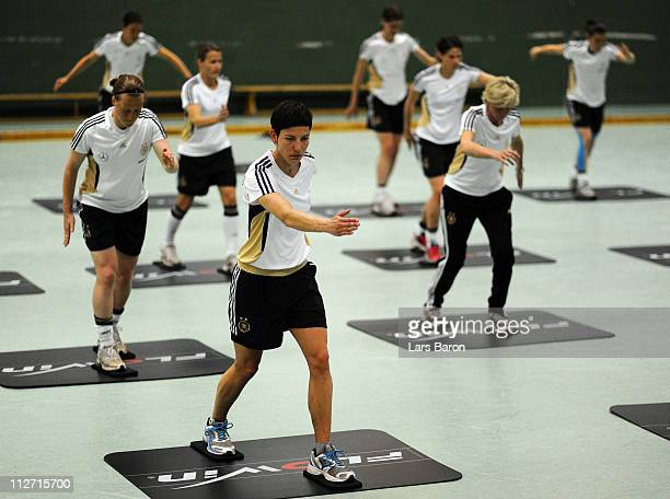 Linda Bresonik warms up during a German Women National Team training session at NetCologne Stadium on April 20 2011 in Cologne Germany