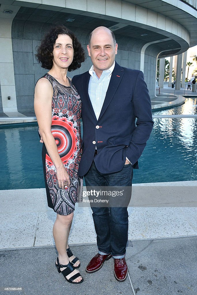 Linda Brettler and Matthew Weiner attend the opening of 'Bent' at Mark Taper Forum on July 26, 2015 in Los Angeles, California.