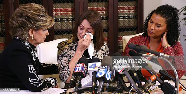 Linda Brown and Lise-Lotte Lublin, two alleged victims of Bill Cosby, speak during a news conference with attorney Gloria Allred on February 12, 2015...