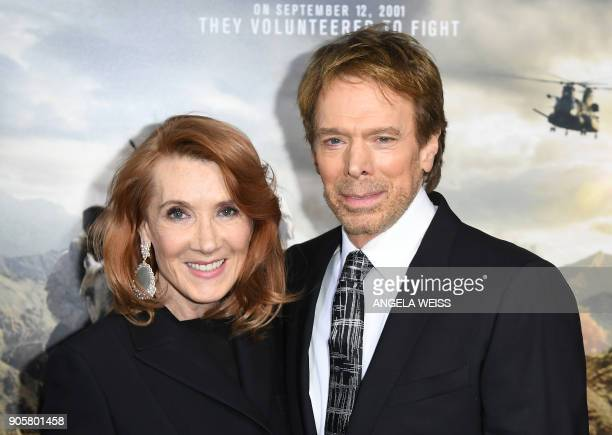 Linda Bruckheimer and Jerry Bruckheimer attend the world premiere of '12 Strong' at Jazz at Lincoln Center on January 16 in New York City / AFP PHOTO...