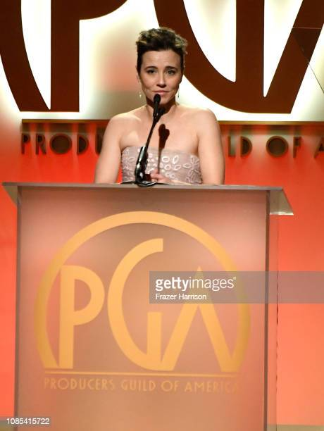 Linda Cardellini speaks onstage during the 30th annual Producers Guild Awards at The Beverly Hilton Hotel on January 19 2019 in Beverly Hills...