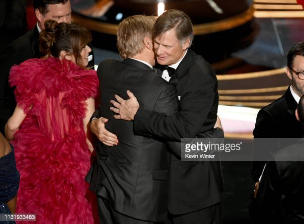 Linda Cardellini, Viggo Mortensen, and Jim Burke accept the Best Picture award for 'Green Book' onstage during the 91st Annual Academy Awards at...