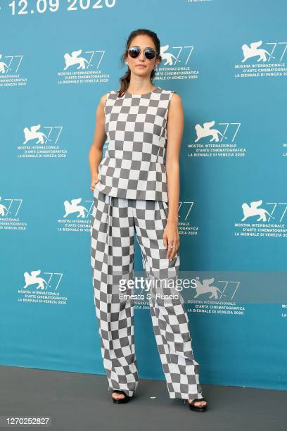 """Linda Caridi attends the photocall of the movie """"Lacci"""" at the 77th Venice Film Festival on September 02, 2020 in Venice, Italy."""