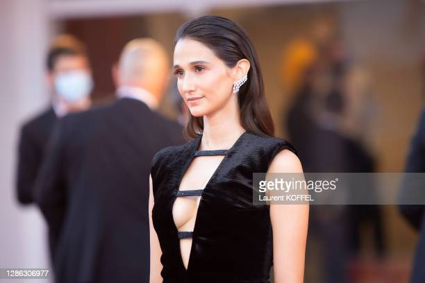 """Linda Caridi walks the red carpet ahead of the Opening Ceremony and the """"Lacci"""" red carpet during the 77th Venice Film Festival on September 02, 2020..."""