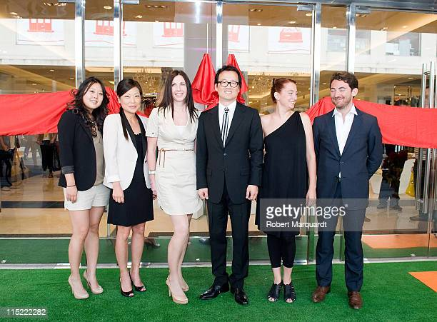 Linda Chang Jane Ha Gale Abott Alex Ok Alba Rosa and Ludovic Flandin attend the grand opening of the first 'Forever 21' store in Spain at the La...