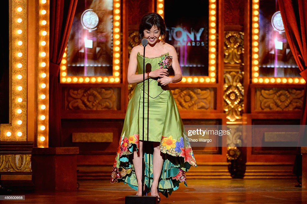 linda cho accepts the award for best costume design of a musical for