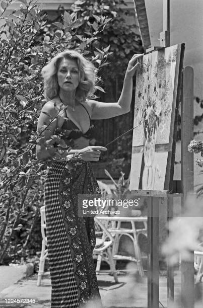 Linda Christian American actress painting Germany circa 1968