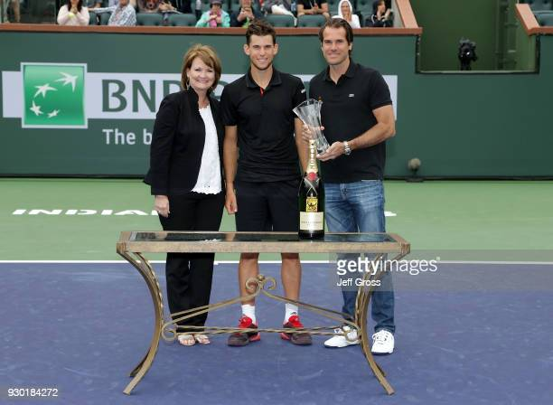 Linda Clark Dominic Thiem and Tommy Haas pose during the BNP Paribas Open on March 10 2018 at the Indian Wells Tennis Garden in Indian Wells...