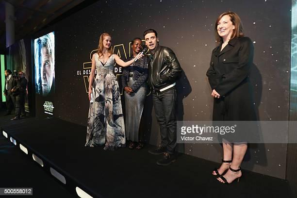 "Linda Cruz, actress Lupita Nyong'o, actor Oscar Isaac and film producer Kathleen Kennedy attend the ""Star Wars: The Force Awakens"" Mexico City..."