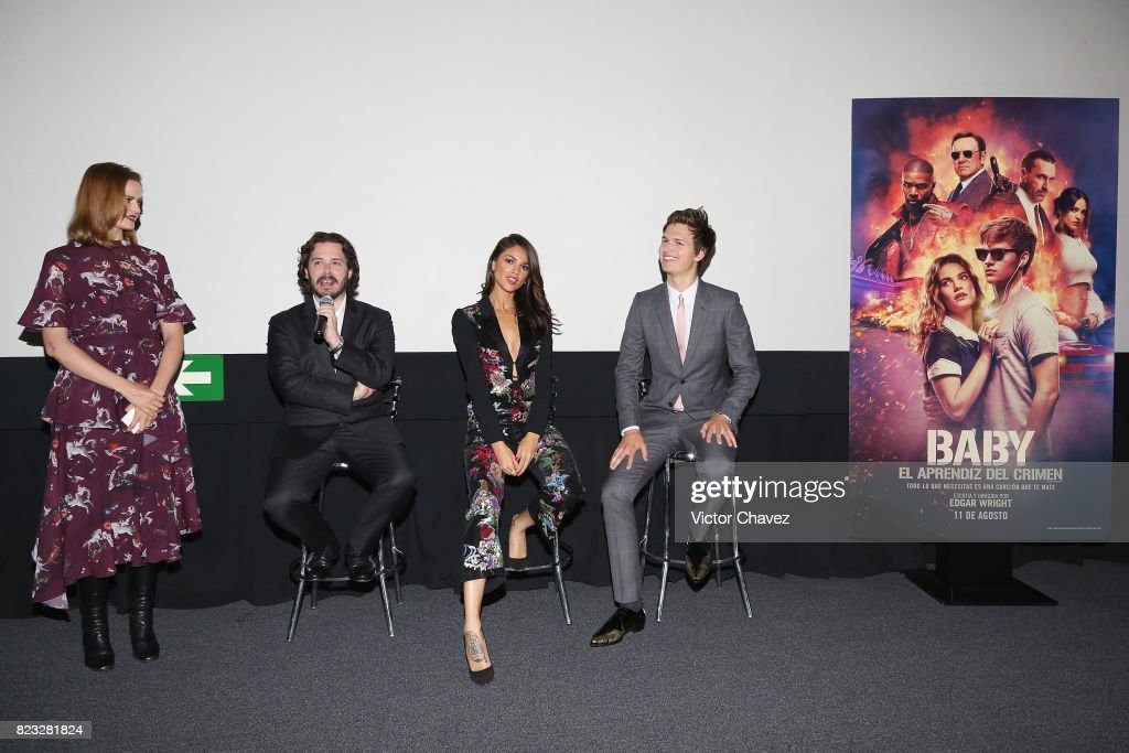 Linda Cruz, film director Edgar Wright, actress Eiza Gonzalez and actor Ansel Elgort attend the 'Baby Driver' Mexico City premier at Cinemex Antara Polanco on July 26, 2017 in Mexico City, Mexico.