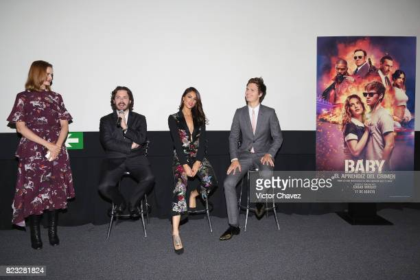 Linda Cruz film director Edgar Wright actress Eiza Gonzalez and actor Ansel Elgort attend the 'Baby Driver' Mexico City premier at Cinemex Antara...