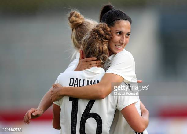 Linda Dallmann of Germany celebrates the second goal with Sara Doorsoun of Germany during the International friendly match between Germany Women and...