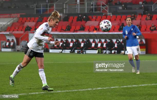 Linda Dallmann of Germany scores her sides fifth goal during the UEFA Women's EURO 2022 qualifier match between Germany Women and Greece Women at...