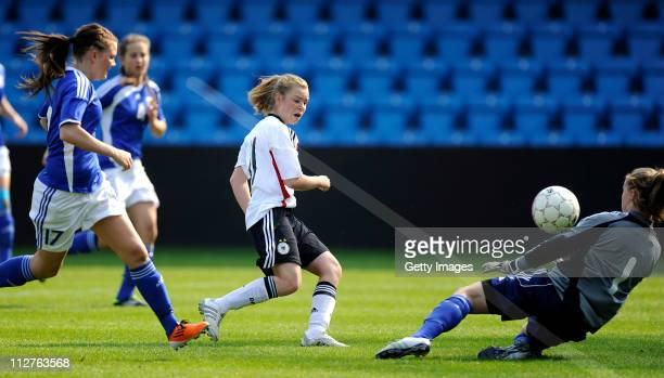 Linda Dallmann of Germany scores to 10 during the U17 UEFA European Women's Championship qualifier match between Finland and Germany at Blue Water...