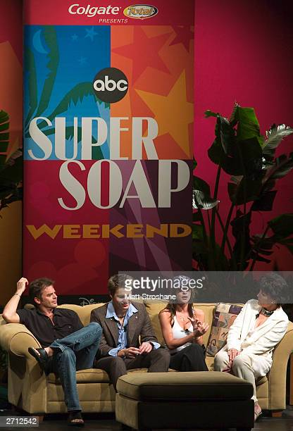 Linda Dano of One Life to Live hosts the Super Soap Talk Show with guests Scott Clifton Wally Kurth and Kelly Manaco all of General Hospital during...