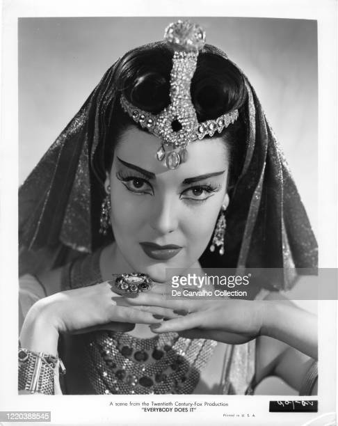 Linda Darnell as 'Cecil Carver' in an Egyptian headdress and costume in the movie 'Everybody Does It' United States
