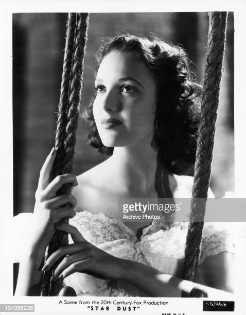 Linda Darnell looking up in a scene from the film 'Star Dust' 1940