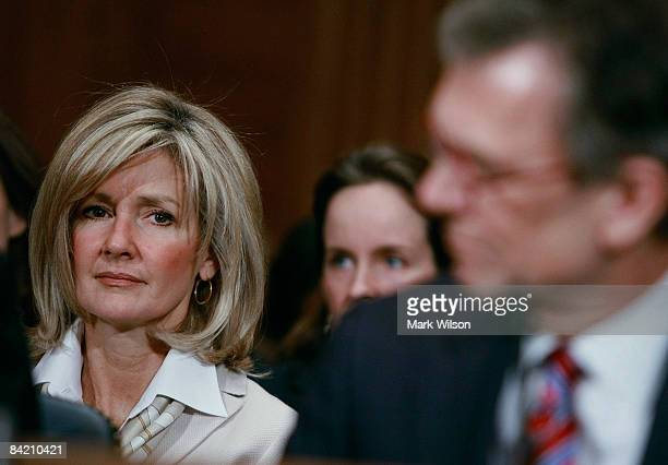 Linda Daschle watches as her husnband former Senate Majority Leader Tom Daschle testifies during his Senate Confirmation hearing before the Senate...